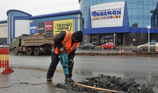 Строительство пешеходного перехода началось у ТЦ «Флагман» в Ижевске